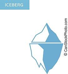 logo, berg, ijsberg, icon., ijs