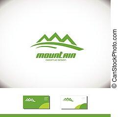 logo, berg, toerisme, groene, toerist