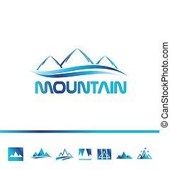 logo, berg, tourismus, ikone