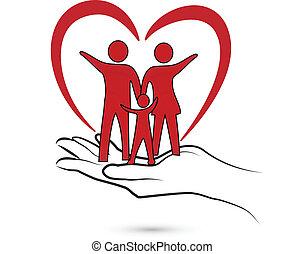 logo, bescherming, gezin