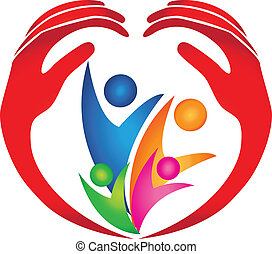 logo, beskyttet, familie, hænder
