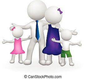 logo, biały, 3d, rodzina, ludzie