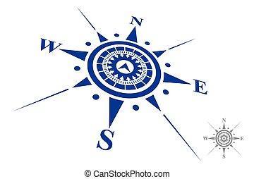 logo, biały, odizolowany, tło, busola