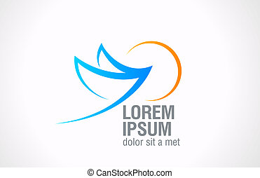 Logo Bird Flying to sun abstract icon. Vector. - Bird Flying...