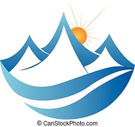 logo, bjerge, vektor, væv, ikon