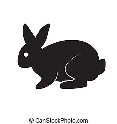 Logo black silhouette of a stylized hare on a white isolated background. Vector image