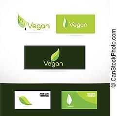 logo, blad, groene, vegan, pictogram
