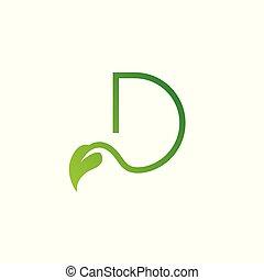 logo, blatt, d, brief, entwerfen elemente