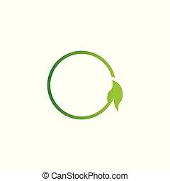 logo, blatt, o, brief, entwerfen elemente