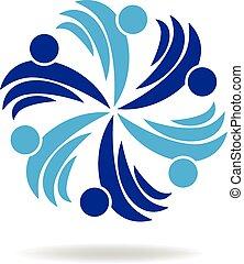 logo, blaues, leute, hände halten