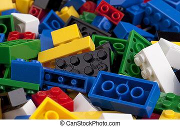 logo, blocs, coloré
