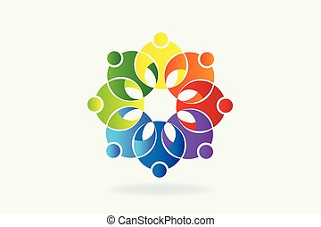 logo, bloem, teamwork