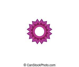 logo, blomst, abstrakt, skabelon