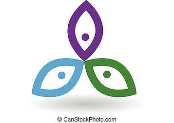 logo, blomst, folk
