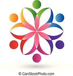 logo, blomst, teamwork, folk