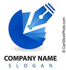 logo:, blu, pluma, tintero, empresa / negocio