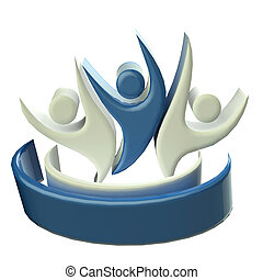 Logo blue happy teamwork 3D