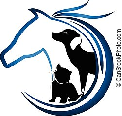 Logo blue horse, dog and cat friends