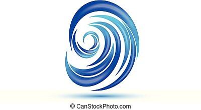 Logo blue sea waves