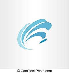 logo blue water wave tourism symbol element