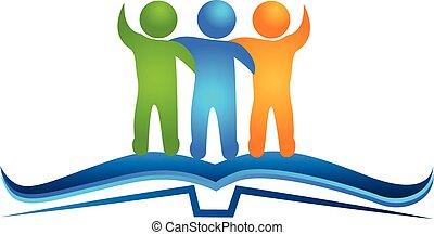logo, boek, en, vriendschap, figuren