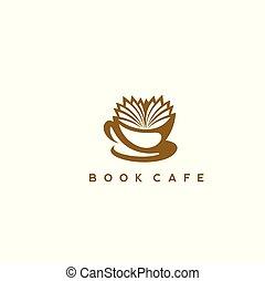 logo, boek, koffiehuis, illustration., mal