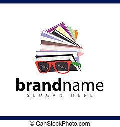 logo, boek, vector, stapel, mal