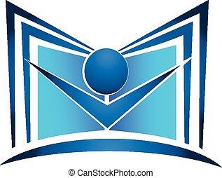 logo, bog, undervisning, figur, identitet