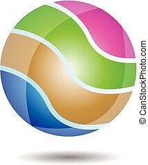 logo, boll, glatt