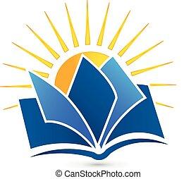 Logo Book and sun vector icon