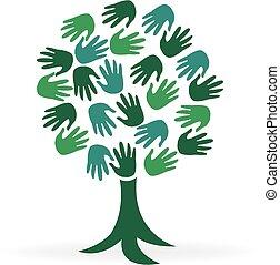 logo, boompje, groene, handen