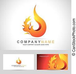 logo, brûler, flamme