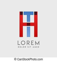 logo, breven, blå, röd, ht, gradering