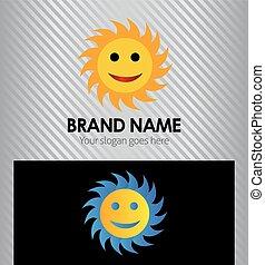 logo, briller, dessin animé, soleil jaune