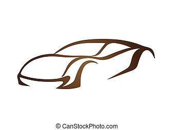 logo, brun,  auto