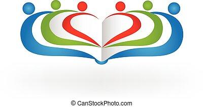 logo, buch, gemeinschaftsarbeit, bildung