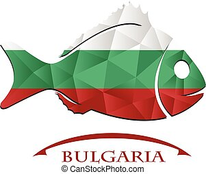 logo, bulgaria., fait, drapeau, fish