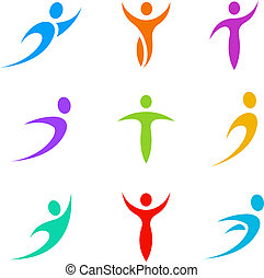 Abstract icon set. Business & Sport Logotypes. Flying, levitating, rushing activity