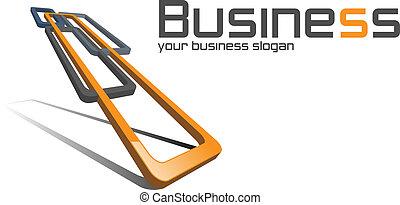 Business logo, 3D squares orange and black, vector.