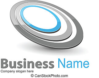 Business logo, ellipses grey and blue, vector.