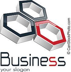Logo design for business three hexagons, vector.