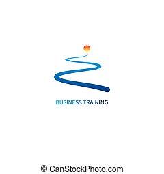 Logo business training. Icon development. Road and sun....
