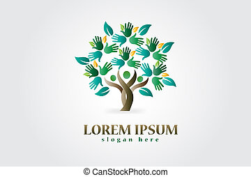 logo, cœurs, arbre, figures, mains