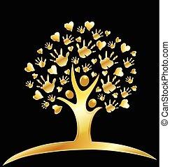 logo, cœurs, arbre, or, mains