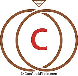logo, c, anneau diamant, lettre