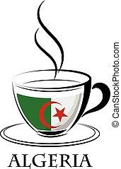 logo, café, fait, drapeau, algérie