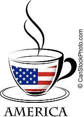 logo, café, fait, drapeau, amérique