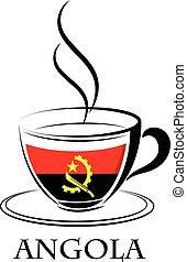 logo, café, fait, drapeau angola