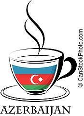 logo, café, fait, drapeau, azerbaïdjan