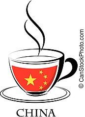 logo, café, fait, drapeau chine